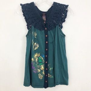 Free People teal top with knit crochet collar 257